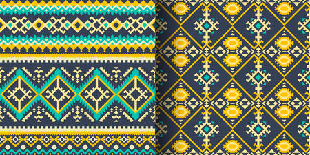 Set of ethnic seamless patterns. Aztec, Navajo, Boho, Mexican print with geometric ornament.