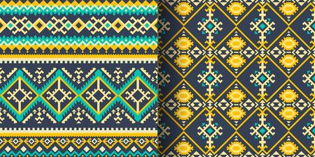 Set of ethnic seamless patterns. Aztec, Navajo, Boho, Mexican print with geometric ornament. 版權商用圖片 - 125656265