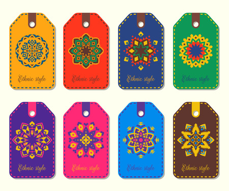 Set of ethnic tags with geometric mandalas.  Aztec, Boho, Mexican round flower ornament. Tribal decorative label templates.