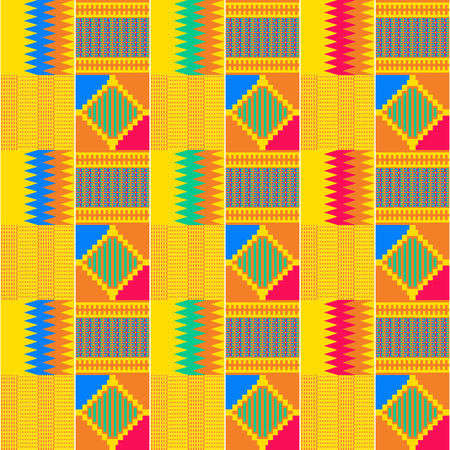 Textile fashion African print. Tribal seamless pattern. Cloth Kente. Geometric design. 版權商用圖片 - 125225410