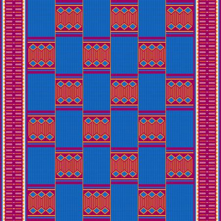 Textile fashion African print. Tribal seamless pattern. Cloth Kente. Geometric design. 版權商用圖片 - 125225411