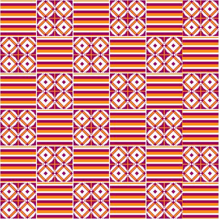 Textile fashion African print. Tribal seamless pattern. Cloth Kente. Geometric design.