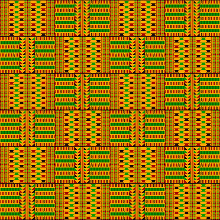 Paño kente. Textil africano. Patrón étnico sin costuras. Impresión geométrica tribal.