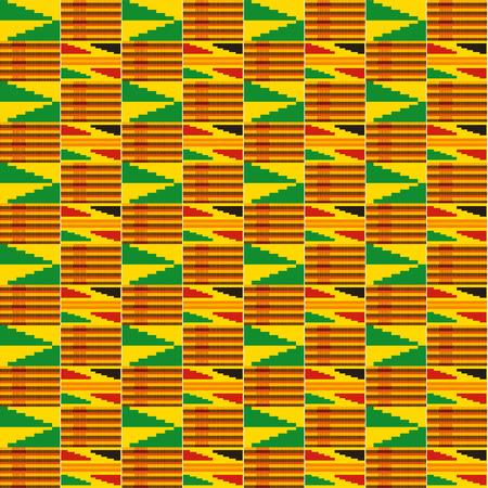 Paño kente. Textil africano. Patrón étnico sin costuras. Impresión geométrica tribal. Ilustración de vector