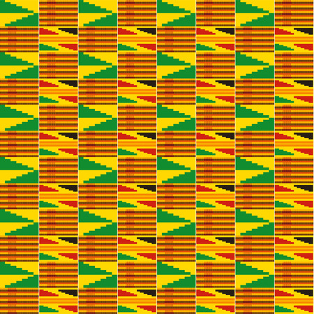 panno Kent. tessile africano. Modello senza cuciture etnico. Stampa geometrica tribale. Vettoriali