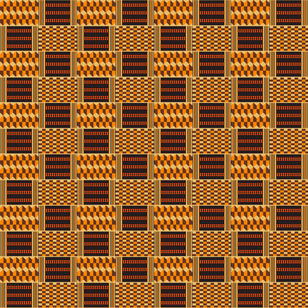 Kente cloth. African textile. Ethnic seamless pattern. Tribal geometric print. 版權商用圖片 - 124949352