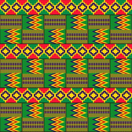 Kente cloth. African textile. Ethnic seamless pattern. Tribal geometric print.