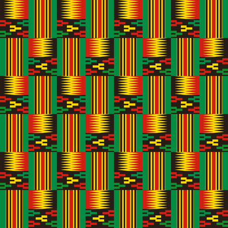 Kente cloth. African textile. Ethnic seamless pattern. Tribal geometric print. 版權商用圖片 - 124949354