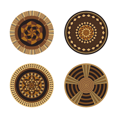 Set of African decorative elements. Round ornament pattern. Collection of mandalas in tribal style. Design baskets from Botswana.