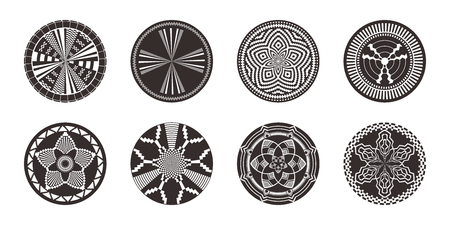 Set of African decorative elements. Round ornament pattern. Collection of mandalas in tribal style. Black and white design.