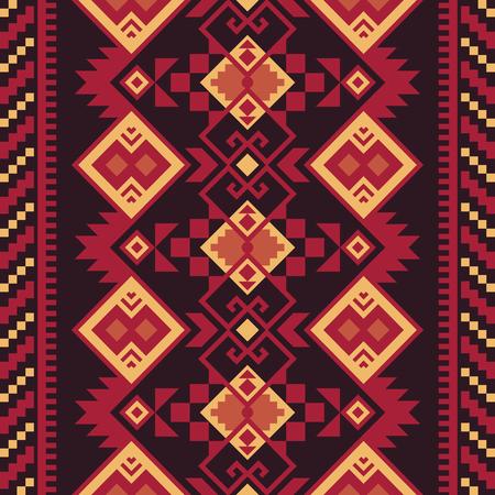 Modelo inconsútil étnico. Kilim tribal. Estampado geométrico mexicano, azteca, turco. Ilustración de vector