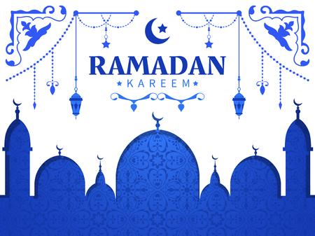 Muslim holiday Ramadan. Islamic Arabic greeting card with mosque, ancient lamps, oriental decorative ornament.