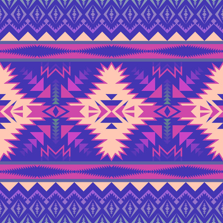 Aztec geometric seamless pattern. Native American, Indian Southwest print. Ethnic design wallpaper, fabric, cover, textile, rug, blanket. 向量圖像
