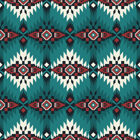 Aztec geometric seamless pattern. Native American, Indian Southwest print. Ethnic design wallpaper, fabric, cover, textile, rug, blanket.  イラスト・ベクター素材