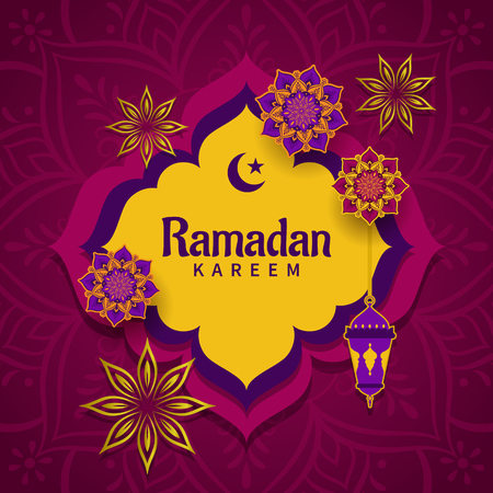 Holiday greeting card for the Holy Month of Ramadan Kareem with beautiful flower mandalas, frame and lantern.