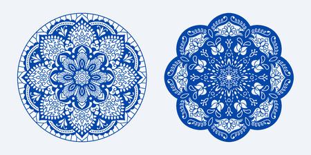 Ethnic decorative rug. Mats for yoga, meditation. Set of mandalas with floral ornaments.