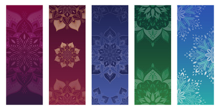 Set of yoga mats, posters, flyers, cards with flower mandalas. Ethnic round ornament.