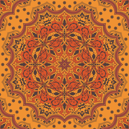 Indian seamless pattern with floral ornament. Ethnic design rug, fabric. Flower mandala. 向量圖像