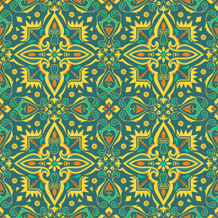 Ethnic colorful seamless pattern. Indian, Mexican background with floral and geometric ornament.