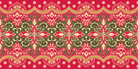 Indian seamless pattern with floral ornament. Ethnic border.