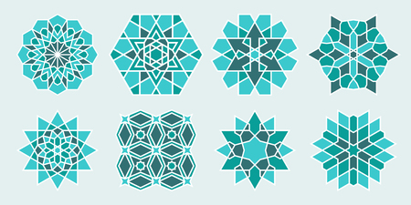 Set of Arabic decorative elements. Islamic geometric symbols. Oriental Round Ornament.