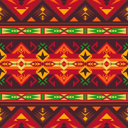 Aztec geometric seamless pattern. Native American, Indian Southwest print. Ethnic design wallpaper, fabric, cover, textile, rug, blanket. Ilustracja