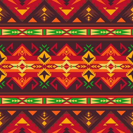 Patrón transparente geométrico azteca. Impresión del sudoeste indio nativo americano. Papel pintado de diseño étnico, tela, funda, textil, alfombra, manta. Ilustración de vector