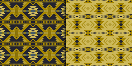 Set of Aztec geometric seamless patterns. Native American, Indian Southwest print. Ethnic design wallpaper, fabric, cover, textile, rug, blanket.