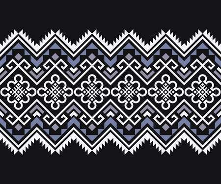 Mexican seamless pattern. Tribal geometric ornament. Folk geometric border. Aztec style. Vectores