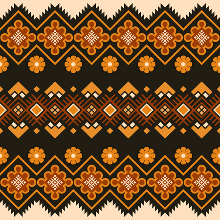 Mexican seamless pattern. Tribal geometric ornament. Folk geometric border. Aztec style.