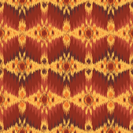 Ethnic seamless pattern in Ikat style. Tribal embroidery. Folklore design for clothing, carpet, wallpaper, as an element of decor, etc. 向量圖像