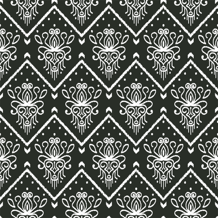 Black and white Ikat Fabric. Seamless pattern with embroidery. Ethnic design for clothing, carpet, wallpaper, as an element of decor, etc.