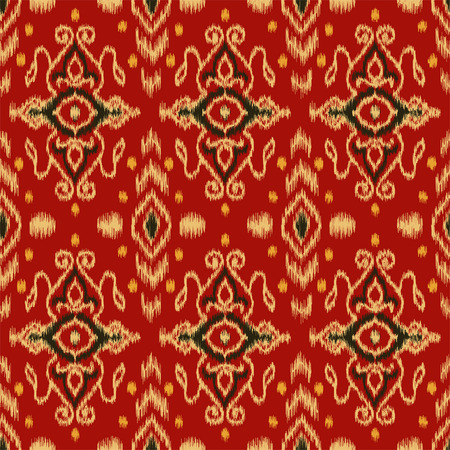 Seamless pattern with embroidery. Ikat Fabric. Ethnic design for clothing, carpet, wallpaper, etc.