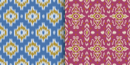 Set of seamless patterns with embroidery. Ikat Fabric. Ethnic design for clothing, carpet, wallpaper, etc.