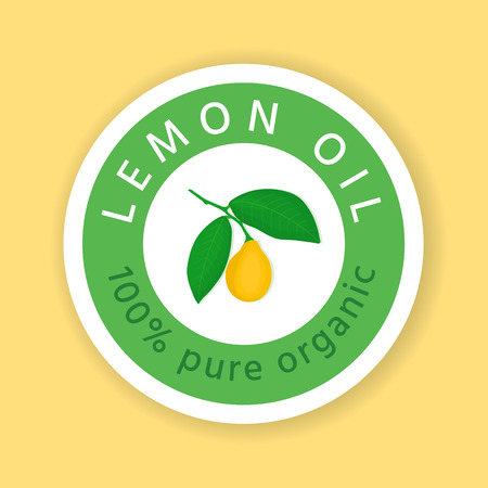 Lemon icon. Label, sticker, packaging design for essential oil, cream, soap, etc.