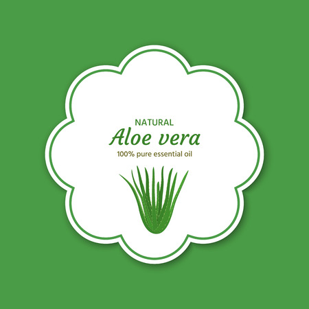 Aloe Vera icon. Label, sticker, packaging design for essential oil, cream, soap, etc.