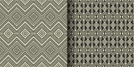 Patrones sin fisuras étnicos en blanco y negro. Azteca, navajo, bereber, marroquí, africano, estampado popular. Papel tapiz de diseño geométrico, tela, funda, textil, envoltura, alfombra. Ilustración de vector