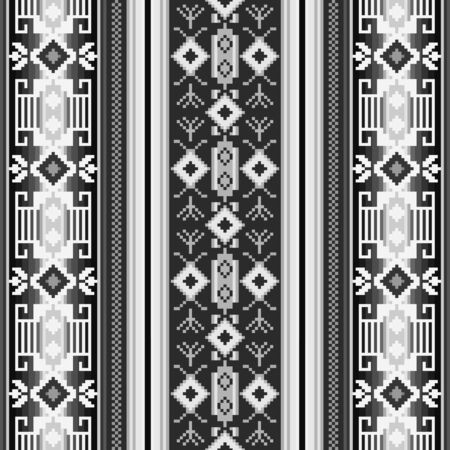 Black and white ethnic seamless pattern with geometric ornament. Mexican, Peruvian,  Slavic textiles.