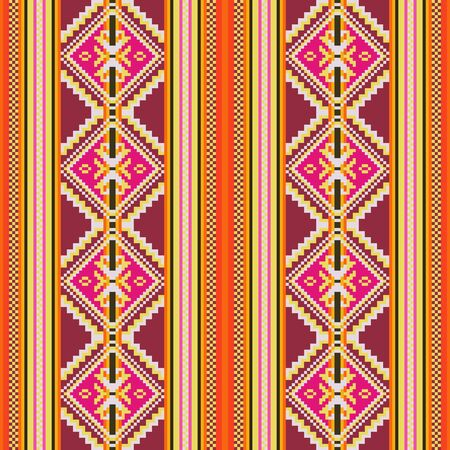 Ethnic seamless pattern with geometric ornament. Mexican, Peruvian, Slavic textiles. 向量圖像