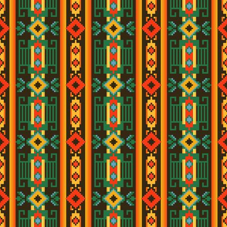 Ethnic seamless pattern with geometric ornament. Mexican, Peruvian, African, Slavic textiles. 向量圖像