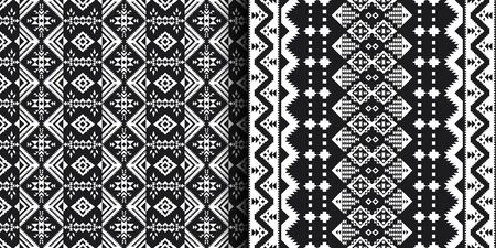 Black and white Aztec geometric seamless patterns.  Native American Southwest prints. Ethnic design wallpaper, fabric, cover, textile, blanket.