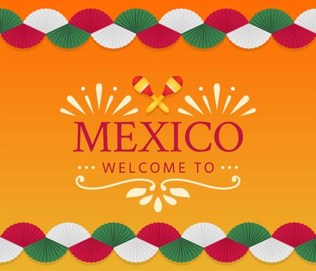 Mexican banner for national holiday or celebration event. Festive template with colored paper fan garland for the party.