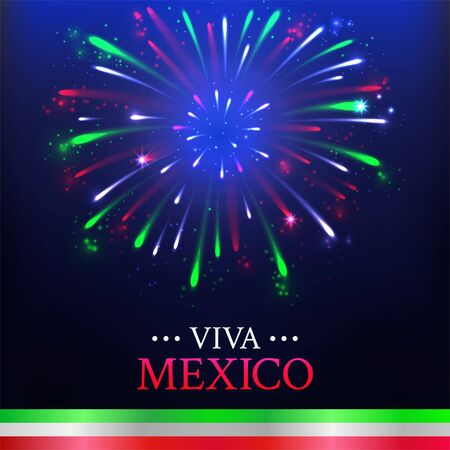 Happy Independence day, Viva Mexico. Mexican banner, card for national holiday with colorful firework on dark background.
