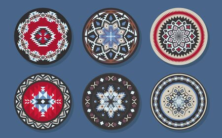 Set of Ethnic decorative elements. Round ornament patterns and borders. Tribal rugs with geometric design. 向量圖像