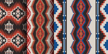 Set of Aztec geometric seamless patterns. Native American Southwest prints. Ethnic design wallpaper, fabric, cover, textile, rug, blanket. 向量圖像