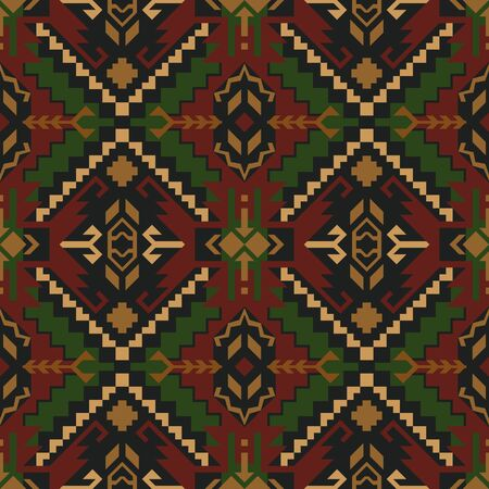 Native Southwest American, Aztec, oriental, geometric seamless pattern. Tribal print. Ethnic design fabric, textile, blanket, rug, etc.