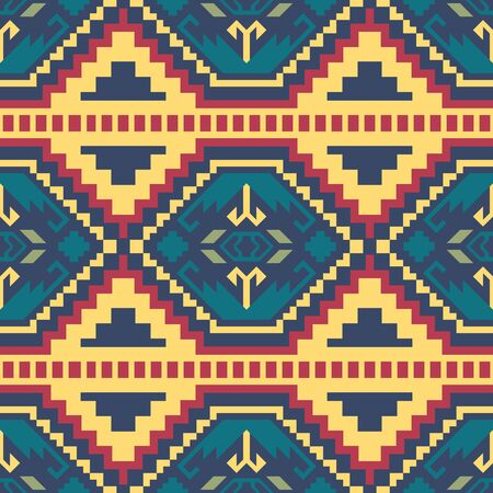 Aztec geometric seamless pattern. Tribal print. Ethnic design fabric, textile, blanket, rug, etc. Иллюстрация
