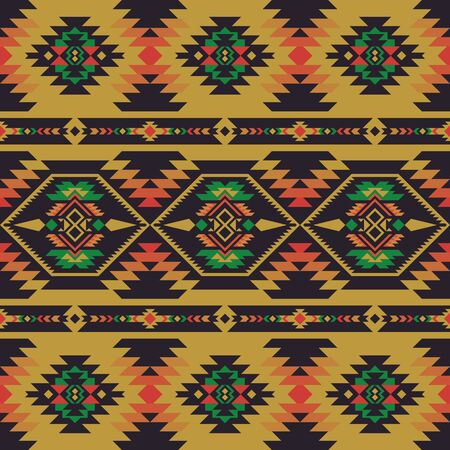 Aztec, Navajo geometric seamless pattern. Native American Southwest print. Ethnic design wallpaper, fabric, cover, textile, rug, blanket. Иллюстрация