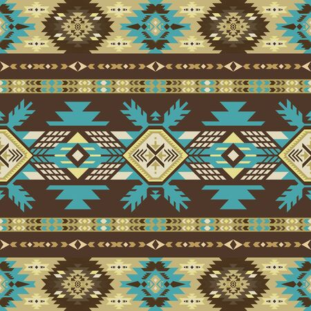 Aztec, Navajo geometric seamless pattern. Native American Southwest print. Tribal kilim. Ethnic design wallpaper, fabric, cover, textile, rug, blanket.