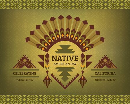 Native American Heritage Day. Celebrating Indian Culture. Tribal design for poster, card, banner. 版權商用圖片 - 134822388